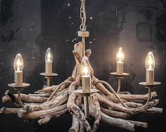 Driftwood chandelier, Driftwood Branch light Fitting, Five light chandelier 50cm drop x 65 cm diameter, Drift Wood Lighting