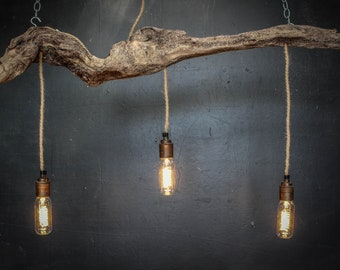Driftwood Chandelier, Vintage filament bulbs,Vintage filament pendant chandelier,Kitchen island lighting, Drift Wood over table lighting