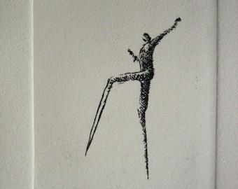 """Original etching """"Walking"""""""