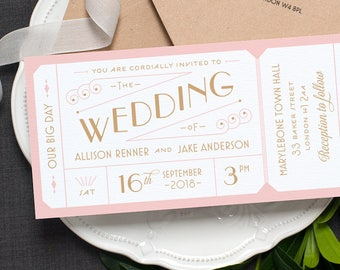 Destination Ticket Wedding Invitation / 'Just the Ticket' Art Deco 1920s Wedding Invite / Blush Pink Gold / Custom Colours / ONE SAMPLE