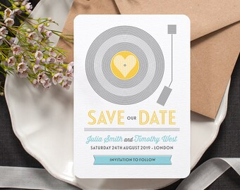Retro 'Save the Date' Card / 'Vinyl Record' Music Themed Wedding Announcement / Yellow Light Blue / Custom Colours Available / ONE SAMPLE