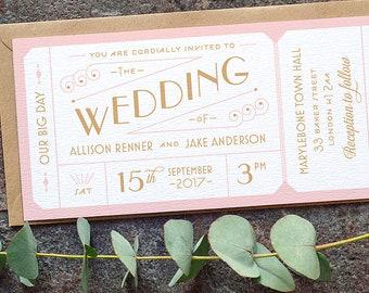 Destination Ticket Wedding Invitation / 'Just the Ticket' Art Deco 1920s Wedding Invite / Blush Pink Gold / Custom Colours / ONE SAMPLE