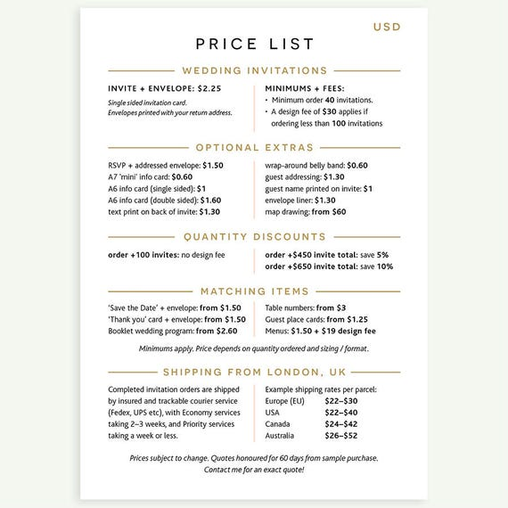 Usd Price List Expand Item Details Or See Photos Etsy