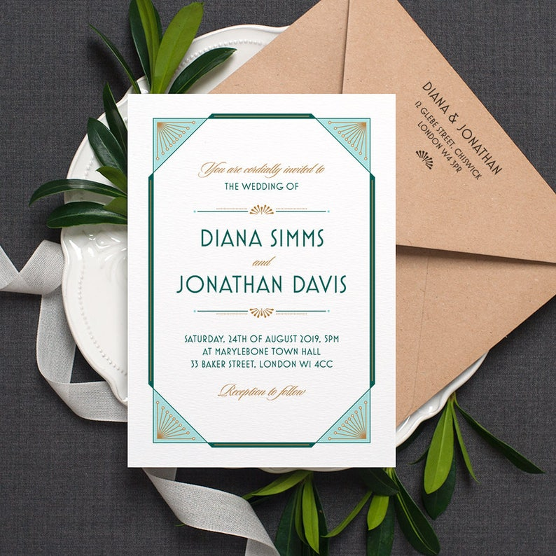 Art Deco Wedding Invitations.Art Deco Wedding Invitation Gatsby 1920s Modern Vintage Wedding Invite Dark Emerald Green Turquoise Gold Custom Colours One Sample