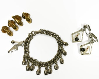 edd1f3ef29ed3b VINTAGE 1950's Novelty Bowling Jewelry Set | Clear Lucite Clip-on Earrings  Charm Bracelet & Scatter Pins | 50s Bowling Jewelry Lot