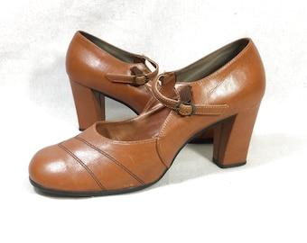 7e09ed5ba9840 Tan leather heels | Etsy