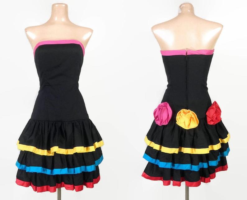80s Punk Party Dress Julie Duroche VINTAGE 1980s Rainbow Stripe Roses Bustier Dress Extreme 80s Ruffled Cocktail Dress Lolita Dress