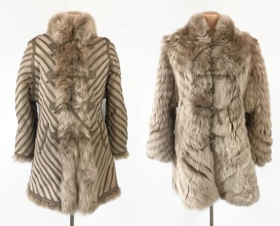 VINTAGE 1970s Reversible Lambskin Fur Penny Lace C
