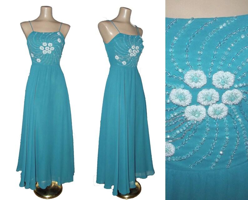Vintage 1970s Beaded Disco Dress   70s Full Sweep Dancing Dress   Subtly Sheer Fit and Flare Dress   Vintage Midi Dress   Studio 54 Dress