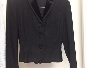 Ladies Black VINTAGE Wool Jacket by MIRON *Velvet Trim* Size XS *Great Condition