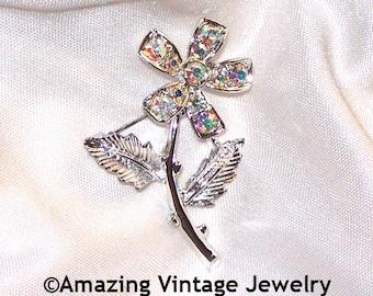 MINI-FLEUR Pin * Silvertone * Sarah Coventry * Vintage 1968 * SALE 5.00 * Aurora Borealis Stones * Silver Flower