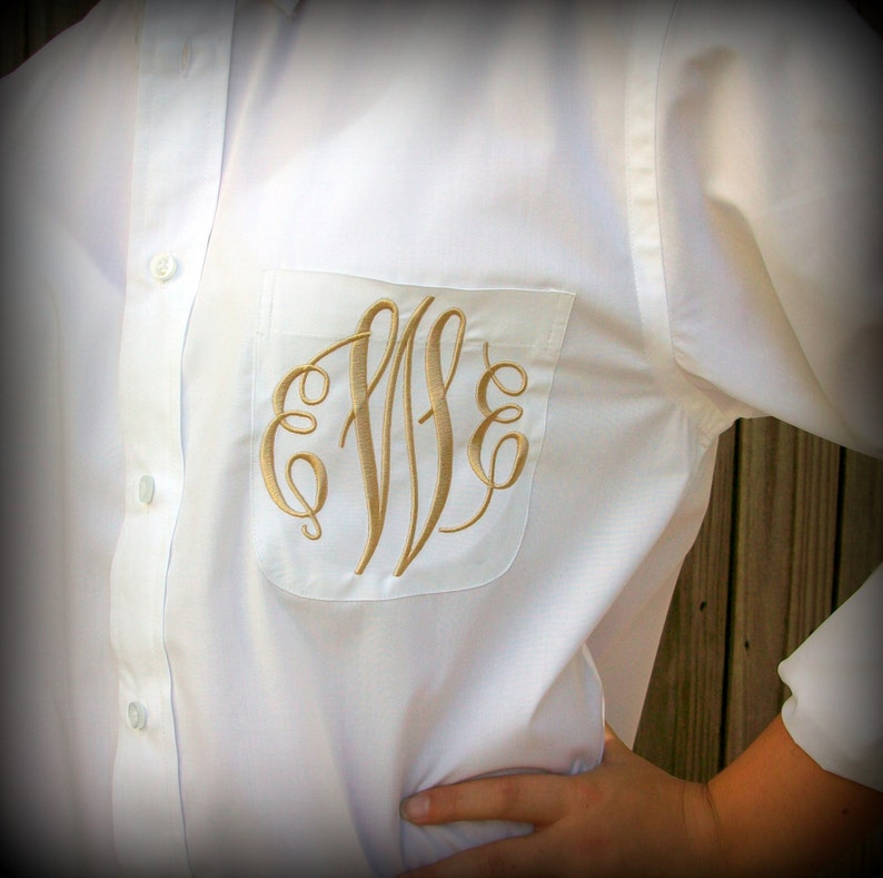 Monogrammed Button Down shirt Wedding day party cover up Bride or Bridesmaid