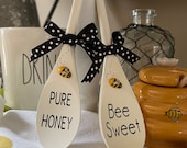Mini 6 quot Pure Honey. Bee Sweet Wooden Spoon With Bee Accent For Bee Theme Tiered Trays, Tiered Tray Signs, Tray Decor More