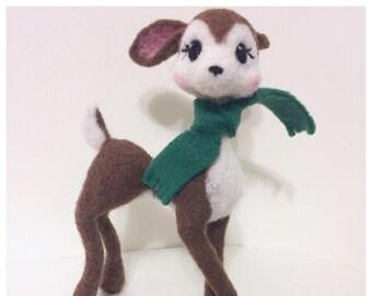 Felted Deer Soft Sculpture OOAK Reindeer Bambi Disney Inspired Poseable Deer Figurine