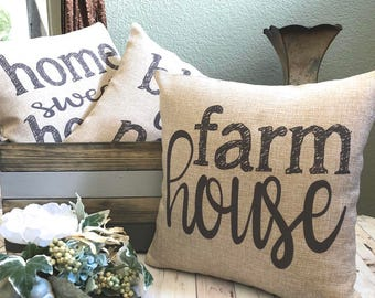 Pillow   Farmhouse Pillow   Burlap Pillow   Rustic Country Decor   Home  Decoration   Fixer Upper   French Farmhouse Decor   Gift Under 25
