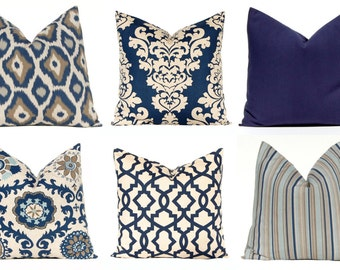 Decorative Pillow Covers - Navy Blue Pillow Covers - Throw Pillow Covers - Blue  Cushion Covers - Blue Pillows - Sofa Pillows - Blue Bedding 1684c63de79f