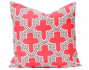 Pillow Covers - Euro Sham - Red Coral Pillow Covers - Trellis Pattern - Throw Pillow Covers - Euro Bedding - Sofa Pillow Covers - Coral Bed