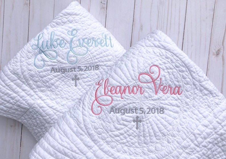 Baptism Gift for Girl  Personalized Baby Blanket  White image 0