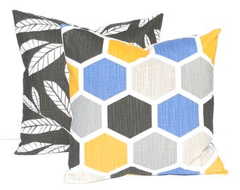 Pillow Covers - Pair of Two - Sofa Pillow Covers - Geometric Pillows - Blue, Gold and Gray - Throw Pillow Covers - Modern Decor Living Room