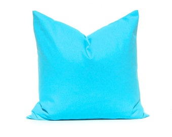 Decorative Throw Pillow Cover - Turquoise Pillow Cover - Solid Turquoise - For 22 x 22 Pillows - Solid Mandarin Blue Turquoise Pillow Cover