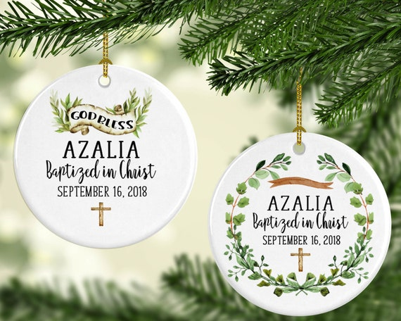 Christmas Christening.Baptism Ornament Personalized Baptism Gift Three Inches Gift From Godmother Baby S First Christmas Christening Gift God Bless