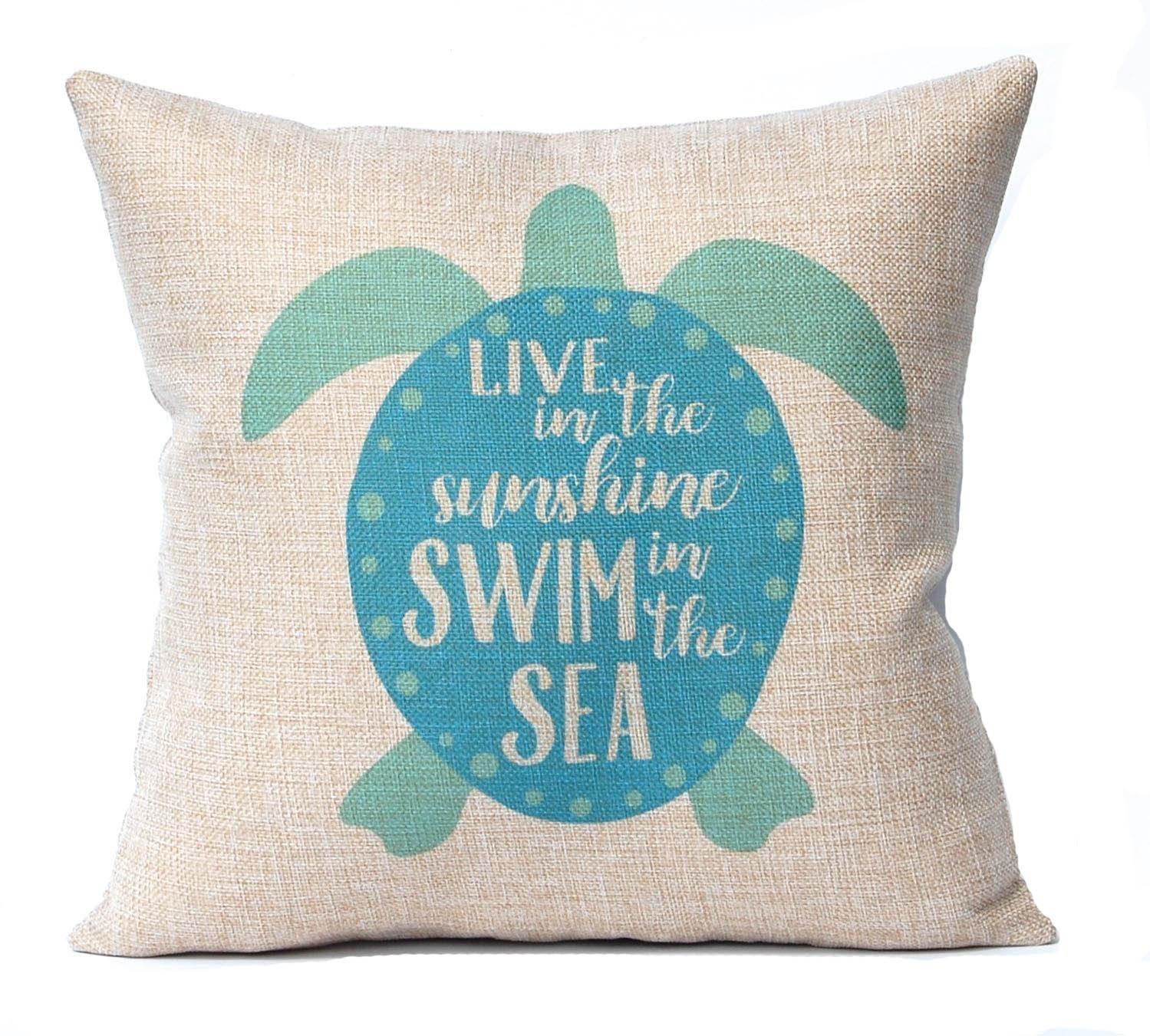 Beach Home Decor Pillows: Sea Turtle Pillow Cover Beach Decor Turquoise Faux