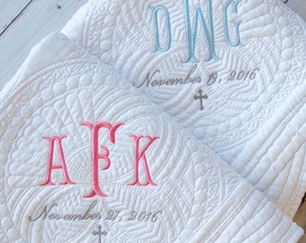 Baptism Gift - Monogram Quilt - New Baby Gift - Personalized Baby Quilt - Baptism Gift for Girl - Baptism Gift for Boy - From Godmother