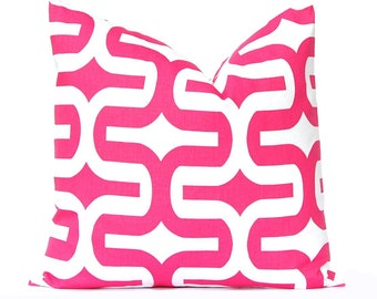 Hot Pink Pillow Cover - Decorative Pillow - Hot Pink Embrace - Modern Pillow Cover - Dorm Decor - Pink Pillow Shams