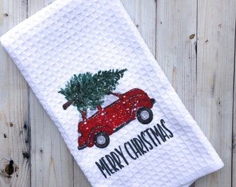 Christmas Tea Towel - Vintage Red Car with Tree - Merry Christmas Kitchen Decor - Holiday Kitchen - Hostess Gift Christmas - Gift for Cook