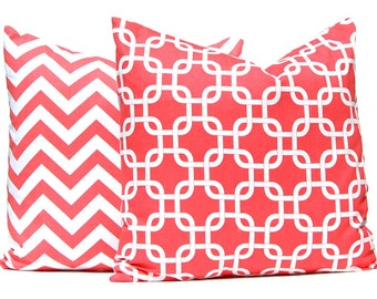 Coral Throw Pillow Covers -  Decorative Throw Pillow Covers - Beach Decor - 20 x 20 - Sofa Pillows - Chevron Pillow Cover - Coral Bedding