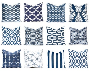 Blue Pillow Covers- Navy Pillow - Home Decor - Decorative Pillow  Covers - Navy Cushion Covers - Euro Sham  - Beach Decor
