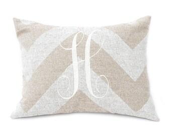 Monogram Pillow Cover - 12 x 16 - Custom Pillow - Rustic Home Decor - Farmhouse Pillow - Burlap Pillow Cover - Personalized Pillow -Chevron