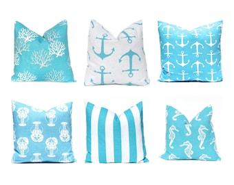 Turquoise Pillow Covers, Nautical Pillows, Nautical Decor, Decorative Throw Pillow Cover, Beach Decor 16 x 16 Aqua WhiteTurquoise Pillows