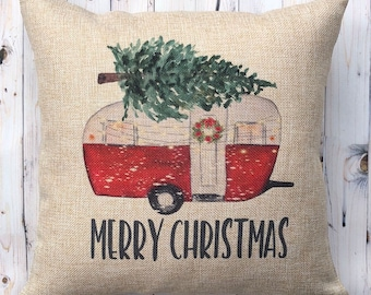 Camper Christmas Pillow - 16 x 16 - Vintage Trailer with Pine Tree - Christmas Decor for RV or Camper - Happy Camper Christmas -Camper Decor