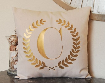 Monogram Pillow - Custom Pillow - Metallic Pillow - Gold Foil Pillow - Decorative Pillow - Dorm Decor - 16 x 16 - Wreath Monogram - Initial