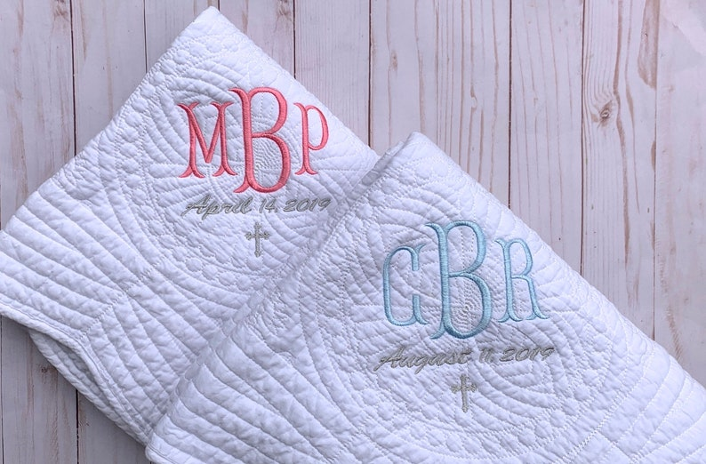Baptism Blanket Personalized  Monogram Quilt  New Baby Gift image 0