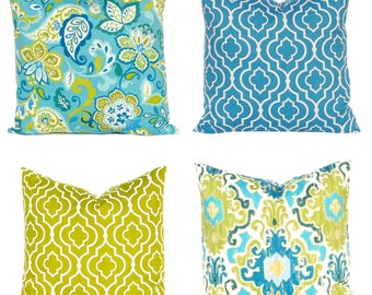 Throw Pillow Covers - Teal and Green - Decorative Pillow Covers - Blue Pillow Covers - Turquoise Pillow Covers - Sofa Pillows