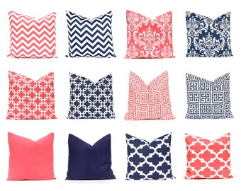 Coral Pillow Covers - Master Bedroom Decor - Decorative Pillow Covers - Navy Blue Pillow Covers - Home Decor - Coral Bedding - Bedroom Decor
