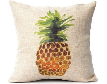 Watercolor Pineapple Pillow Cover - Tropical Decor - Hawaiian Decoration - Faux Burlap Pillow Cover with Zipper - 16 x 16 - Gift Under 20