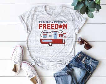 4th of July Tee Shirt - Ladies T-Shirt - Unisex Sizing - Camper T-Shirt - Camping Clothing - Patriotic Freedom Design