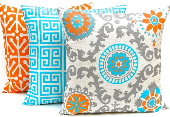 Orange Throw Pillow Covers Three Orange And Turquoise Etsy Unique Cheap Turquoise Decorative Pillows