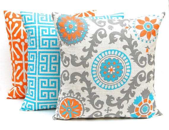 Orange Throw Pillow Covers Three Orange And Turquoise Etsy Simple Orange Decorative Pillows For Couch