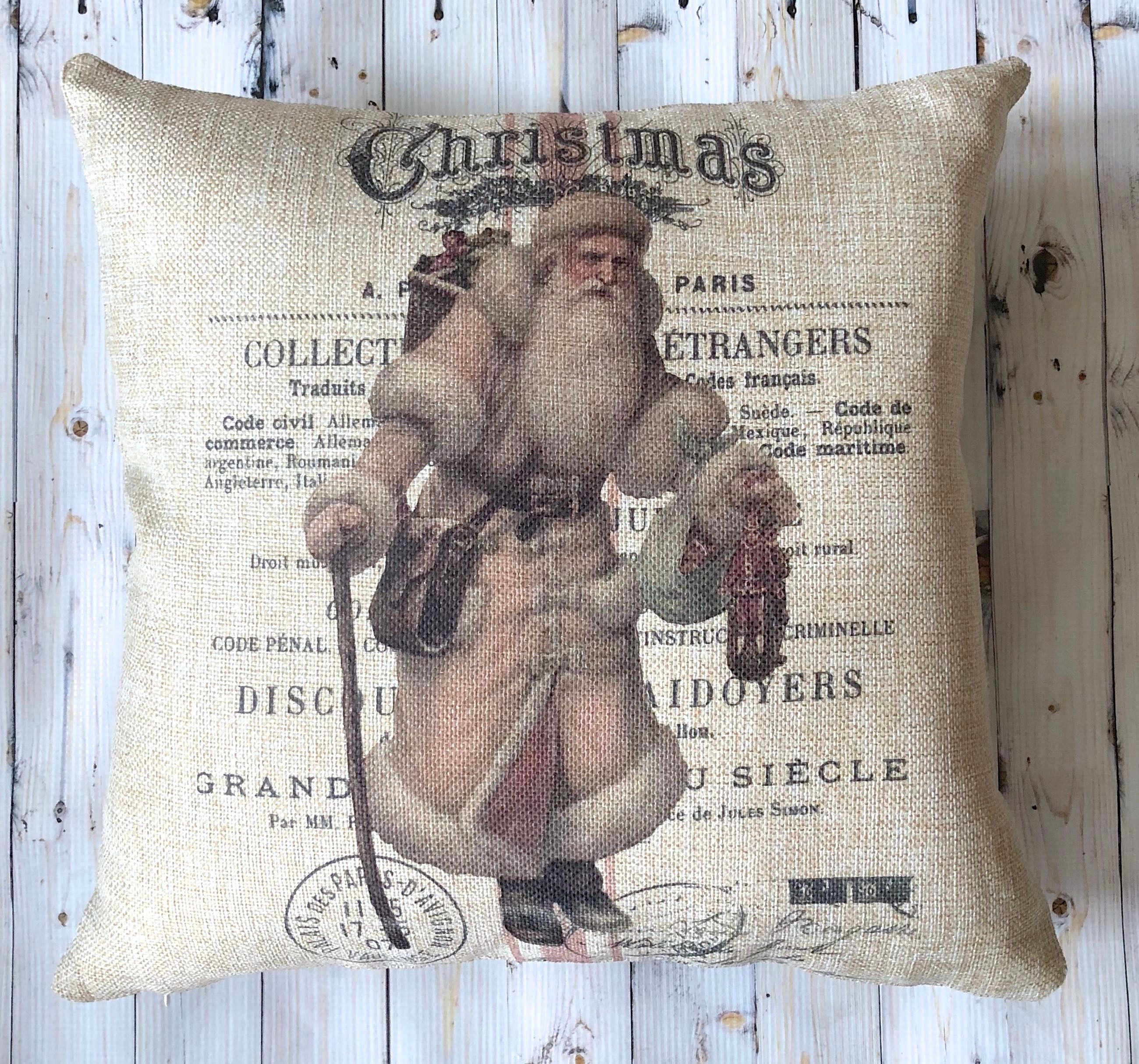 Farmhouse Christmas Decor Decorative Pillow French Country Etsy