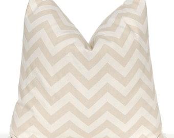 Neutral Throw Pillows - Decorative Pillow Covers - Tan Chevron Pillow Covers - Sofa Pillow Covers - Beige Bedding - Beige Throw Pillows