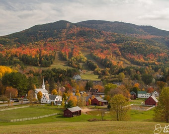 Mount Ascutney and West Windsor Village in Fall Print