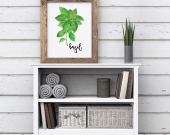 Basil Print, Kitchen Herb Print, Basil Printable, Basil Wall Art, Botanical Watercolor Print, Kitchen Herb Decor, Kitchen Art, Home Decor
