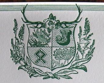 Modern Family Crest Custom Letterpress Notecards