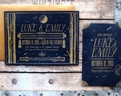 Night Time Birch Trees Gold on Black Custom Letterpress Wedding Invitations