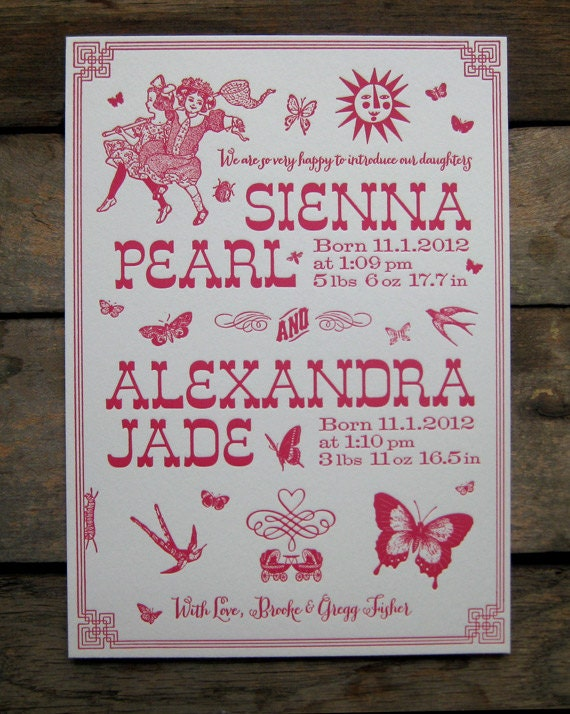 Butterfly Chasers Custom Letterpress Birth Announcements For Etsy