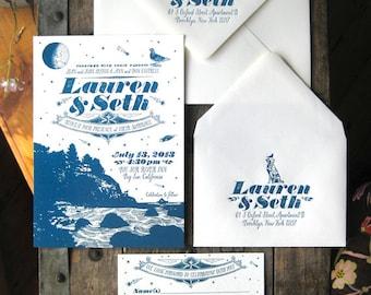 Ocean & Nature Wedding Custom Letterpress Wedding Invitation Suite